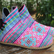 Amber Vegan Womens Ankle Boots In Pink Hmong Embroidery
