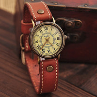Fashion Leather Scale Watch-Dark Blue