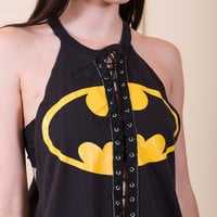 Batman Lace Up Reworked Vintage Tank