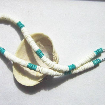 Men's Necklace White and Turquoise Heshi Shell With Wood Bead.  ID 229