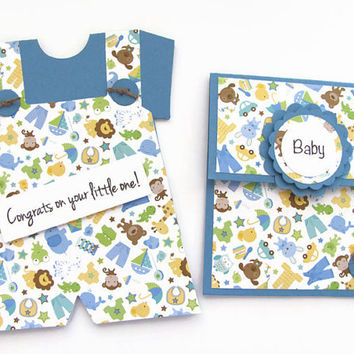 Congrats on Your little One Card, New Baby Boy Card, Animal Print Overalls Card and Gift Card Set