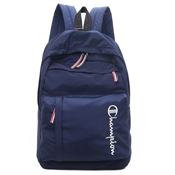 Champion tide brand men's and women's simple fashion canvas backpack Blue