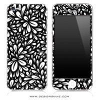 Floral Sprout Black iPhone Skin
