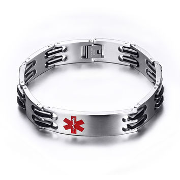 Men and Women Stainless Steel Link Chain Medical Alert ID Bracelet for Men Jewelry , Free Engraving