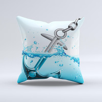 Anchor Splashing Ink-Fuzed Decorative Throw Pillow