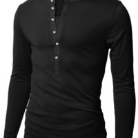 Doublju Mens Henley T-shirts with Long Sleeve BLACK (US-M)