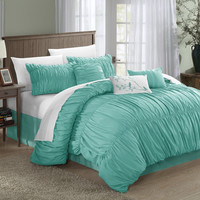 Francesca Pleated & Ruffled Blue 7 Piece Comforter Bed In A Bag Set