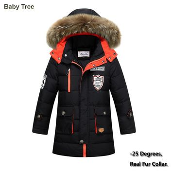 Big Boys Winter Jackets True Fur Hooded Down Coats For Boys Thicken Outerwear Warm Down Parkas Jackets 8 9 10 12 14 15 16 Years