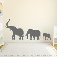 Wall Decal Vinyl Sticker Decals Art Decor Design Family Elephants Animals Jungle Safari Kids Nursery Baby Living Room Bedroom (r220)