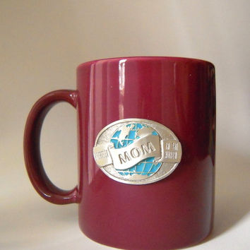 Sale! Genuine pewter crest mom coffee or tea mug, new/old stock, 'greatest mom', Mother's Day, burgundy mug, pewter and enamel crest,mother.