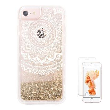 """iPhone 6S Case,iPhone 6 Case, iPhone 7 Case iPhone 8 Case uCOLOR Gold Glitter Dmask Floral Waterfall Clear Protective Case for iPhone8/ 7/6S/6(4.7"""") with Slim Tempered Glass Screen Protector"""