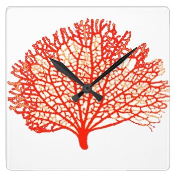 Red Coral Sea Fan Clock