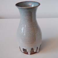 "7 inch tall Vase, Blue white & Copper ""Ice Storm"", Wheel Thrown stoneware pottery ceramic"