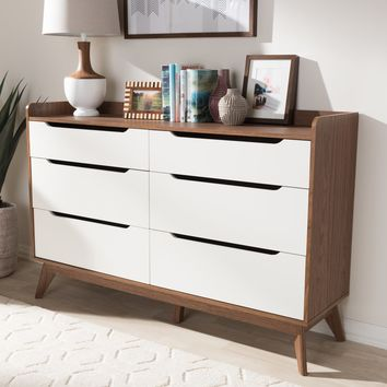 Baxton Studio Brighton Mid-Century Modern White and Walnut Wood 6-Drawer Storage Dresser Set of 1