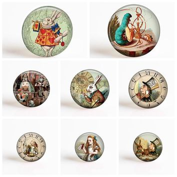 Alice In Wonderland Mad Hatter's Tea Party DIY 25mm Round Glass Cabochon Pendant Glass Dome Jewelry Accessories