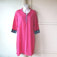 Hot Pink Kurta-Style Tunic w/ Embroidered Cuffs & Turquoise Buttons; Women's Medium Dotted Swiss Cotton Tunic for Leggings/Lounge/Festival