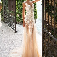 [188.99] Marvelous Tulle & Lace Bateau Neckline See-through Sheath Wedding Dresses With Lace Appliques - dressilyme.com