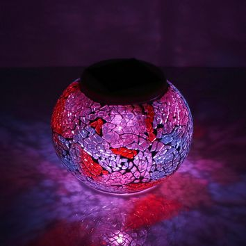 Solar Powered Mosaic Glass Ball LED Garden Night Table Lamps Lawn Light