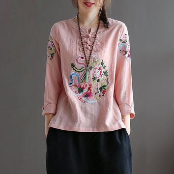 Chinese Ethnic Embroidery Blouse Women 3/4 Sleeve Loose Summer Tops O neck 100% Cotton Linen Tees Basic Ladies Clothes