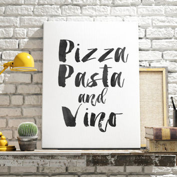 "PRINTABLE Art ""Pizza Pasta and Vino"" Typography Art Print Watercolor Print Kitchen art print Kitchen Decor Kitchen Wall Art Food Art Print"