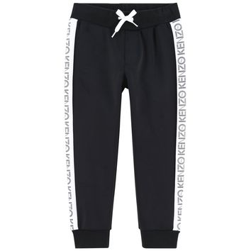 Kenzo Boys Black Sweatpants with Side Strip Logo