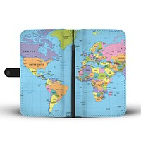 Geography Globe Wallet Phone Case