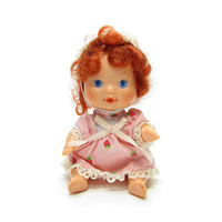 Strawberry Shortcake Berry Baby Vintage 1980's Drink & Wet Doll Toy with Pink Dress, Bonnet