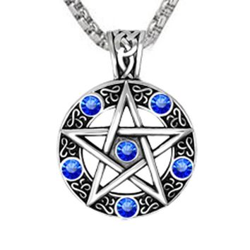 641c12a0b90a2 Punk Style Witch Necklace Gothic Pewter Pentagram Pentacle Pagan