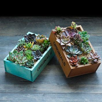 2pcs Vintage Natural Wooden Box Planter for Succulents