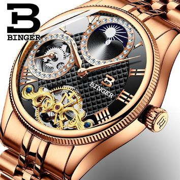 2017 New Mechanical Men Watches Binger Rolex Luxury Brand Skeleton Wrist...