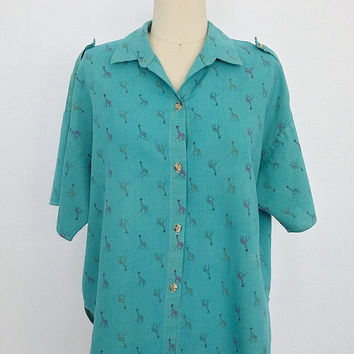 Vintage Safari Shirt / Blouse / 1980s Giraffe Print / Over dyed Green / Size Medium Large M L XL