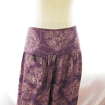 Bohemian Plum Purple Tribal Hippie Zen Moroccan Indie Floral Peony Mexican Twine Meditation Yoga Aladin Lantern Grunge Eco Chic Lounge Pants