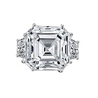 12 CT. Asscher Cut Center Diamond Veneer w/side Baguettes Vintage Style Sterling Silver Ring. 635R71577