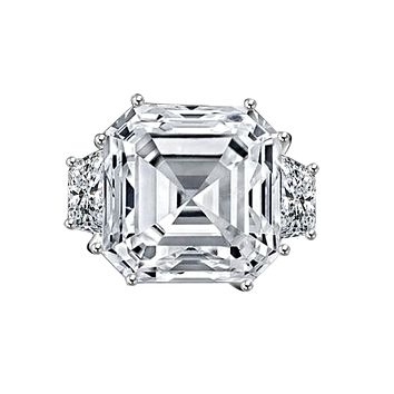 12ct. Asscher cut center set with double sided baguettes vintage Sterling Silver ring simulated diamond-diamond veneer 635R71577