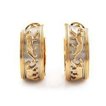 CREY3DS Cartier Panthere Yellow and White Gold Hoop Earrings
