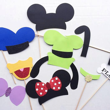 Mickey Mouse and Friends Photo Booth Prop Set ; Mickey Mouse Clubhouse;Photobooth Props (Handmade); Mickey Birthday Decorations