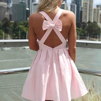 Baby Pink Blessed Angel Cross  Bow Back Dress from xeniaeboutique