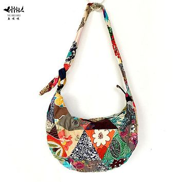 Unique Patchwork Handmade Sling Crossbody Messenger Shoulder Bag Women Bohemian Hippie Cotton Canvas Bags free shipping
