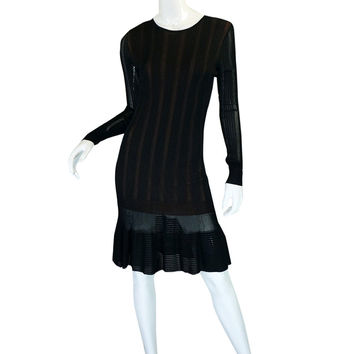 2008 Azzedine Alaia Black & Nude Knit Dress