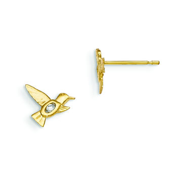 14k Madi K CZ Children's Hummingbird Post Earrings GK796