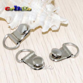 "15~1000pcs Pack 3/8"" D-Rings Plated Shoes Boots Picture Frame Strap Hangers Double Rivet Stud Bag Parts Accessory #FLQ072-B/S/BR"