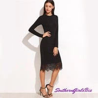 Elegant Dresses Women Business Casual Clothing Black Bodycon Dress Black Lace Trim Long Sleeve Pencil Dress