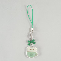 Bear, mint, latte, food, dessert, phone charm, cute, kawaii, anime, zipper charm, keychain, acrylic charm, green