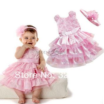 High quality New Rose Garden Pink Rosette Silk Dress Easter Flower Baby Girl Wedding New with free headband Summer Style