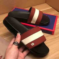 Bally new fashion b letter print red and white stripe flip flop shoes