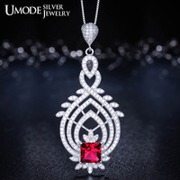 UMODE Vintage Royal Token Genuine 925 Sterling Silver with Red Stone Pendant Necklaces YN0005A