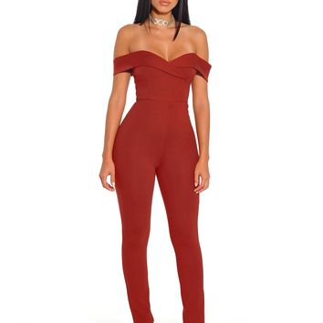 Giselle Crimson Red Off the Shoulder Stretch Crepe Jumpsuit