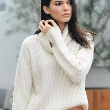 Loose Fit Solid High Neck Pullover Sweater - NOVASHE.com