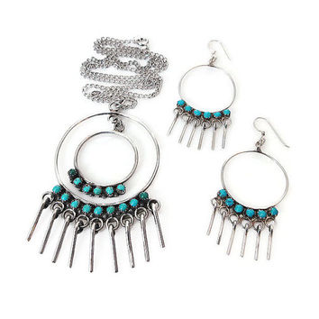 Sterling Turquoise, Necklace Earrings, Petite Point, Native American Style, Vintage Necklace, Vintage Earrings, Vintage Jewelry