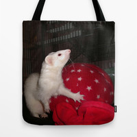 The Ivory Ferret and the Starry Red Bouncy House Tote Bag by Distortion Art
